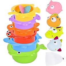 Safe&Care お風呂用おもちゃバストイ 水遊び 海洋動物おもちゃ 大人気のおもちゃ 10点セット 収納ネット付