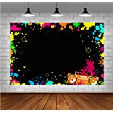 Glow Neon Party Photography Backdrops Let's Glow Splatter Photo Background 5x3ft Blacklight Colorful Laser Ray Disco Retro Ba