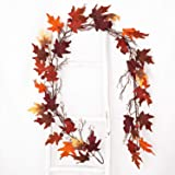 Artiflr Fall Maple Leaf Garland - 6Ft Artificial Foliage Garland Autumn Hanging Fall Leave Vines for Indoor Outdoor Wedding T