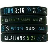 Inkstone Christian Silicone Wristbands w/Scriptures (Set of 4) - Unisex Bible Verse Jewelry Men Women Teens