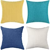 Kingmall Set of 4 Pillow Covers, Corduroy Pillow Covers 4 Pack Throw Pillow Covers Set Comfortable Supersoft Corduroy Corn Be