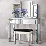 Artiss Dressing Table & Stool with Mirror - Mirrored Glass Surface | Wooden Frame Makeup Table