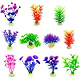 CousDUoBe Artificial Aquatic Plants 11 Pcs Small Aquarium Plants Artificial Fish Tank Decorations,Used for Household and Offi