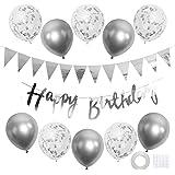 GRESATEK 誕生日 バルーン 風船 飾り付けセット ハッピー バースデー happy birthday シルバー ガーランド 紙吹雪風船 装飾 パーティー お祝い サプライズ