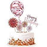 kortes Rose Gold Birthday Cake Topper Set, Rose Gold Fan Cupcake Toppers Rose Gold Acrylic Cupcake Topper Confetti Balloon Bi