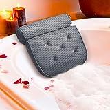 ESSORT お風呂枕 4D バスピロー 吸盤 滑り止め付 バスタブ 浴用品 リラックス 安眠 巣ごもり 母の日 ギフト グレー