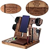 Gift for DAD-Wooden Phone Docking Station, Personalized Gift, Custom Engraved Nightstand Organizer with Phone Charge Station,