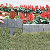Garden Plastic Fence Edging - 10pcs Imitation Stone Fence Gardening DIY Decorative Garden Landscape Cobbled Stone Lawn Yard F