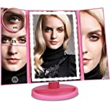 Ceenwes Upgrade Version Makeup Mirror 180°Trifold LED Vanity Mirror Adjustable Touch Screen Cosmetic Mirror with 36 LED Light