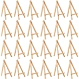 MEEDEN 6Inch 24Pcs Mini Natural Pine Wood Display Easel, A-Frame Painting Party Tripod Easel, Ideal for Holder Stand Small Ca