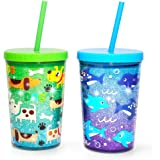 Home Tune 14oz Kids Tumbler Water Drinking Cup - BPA Free, Straw Lid Cup, Reusable, Lightweight, Spill-Proof Water Bottle wit