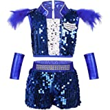JEATHA Kids Boys Girls Shiny Sequins Sleeveless Hip Hop Costumes Tank Top with Shorts Feather Clips Set Dancewear