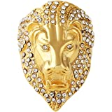 HZMAN Men's Cubic Zirconia Iced Out Lion 18K Gold Plated Stainless Steel Rings