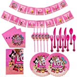 LOL Party Supplies Set,Table Cover, Plates, Napkins, Straws, Forks, Knives, Spoons and Banner,Birthday Party Decoration Set