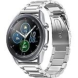 VICARA バンド Compatible with Galaxy Watch 3 45mm バンド ステンレス 調整工具付き 錆びにくい スチール オシャレ 金属製 ビジネス 替えベルト(シルバー)