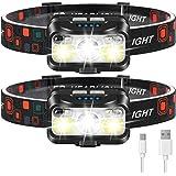 Headlamp Rechargeable, LHKNL 1100 Lumen Super Bright Motion Sensor Head Lamp flashlight, 2-PACK Waterproof LED Headlight with