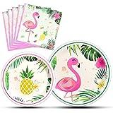 WERNNSAI Flamingo Party Supplies - Luau Disposable Summer Hawaiian Themed Tableware Set for Girl Kids Birthday Dinner Dessert