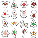 Christmas Cookie Cutters, Hibery 16-Piece Holiday Cookie Cutters Set, Gingerbread Man, Snowman, Snowflake Cookie Cutter and M