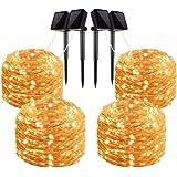 Solar String Lights, 4 Pack 100 LED Solar Fairy Lights 33 Feet 8 Modes Copper Wire Lights Waterproof Outdoor String Lights Ga