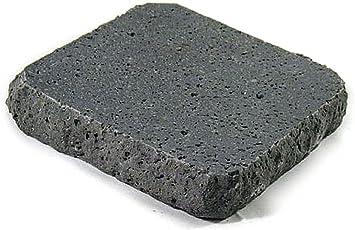み尋「岩肌溶岩プレート」15×15×3cm厚以内 黒玄武製