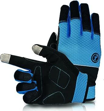 KUPEERS 自転車 3D 立体 スマホー対応 手袋 フルフィンガー グローブ SBR衝撃吸収 サイクルグローブ 防風 防寒 滑り止め付き 耐磨耗性 換気性 クライミング トレッキンググローブ (M)