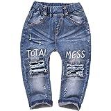 Kidscool Baby & Little Kids Elastic Waist Ripped Holes Denim Pants Jeans