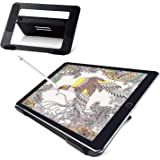 ELECOM Aluminum Drawing Stand for 9.7-12.9inch Tablets, Adjustable 4 Level Angles, Slip Resistance Parts Attached/Black/TB-DS