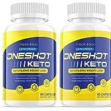 (2 Pack) One Shot Keto Pills Shark Tank Oneshot Keto Fat Advanced Weight 1 Shot Formula Supplement As Seen on TV, Exogenous K