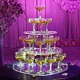 3層シャンパンタワーディスプレイ、透明なアクリルゴブレットワインタワー、ハート型のツリータワースタンド、結婚式パーティーの誕生日式クリエイティブレイアウト(30カップ入り)