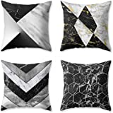 OATHENE Set of 4 Decorative Throw Pillow Covers Super-Soft Material Black White Marble Grey Silver Golden Irregular Geometric