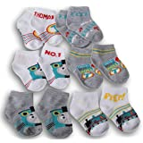 Thomas and Friends Baby Crew Socks - Six Pairs - Thomas the Tank Engine Patterns in Gray and White