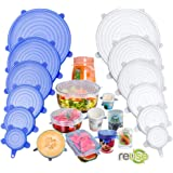 Silicone Stretch Lids, 12 Pack Miracle Lids, Magic Insta Lids, Reusable Silicone Lids With Hanging Holes Fit Round & Square B