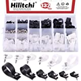 Hilitchi 132 Pcs 6 Sizes Black and White Plastic Cable Clamp R Type Screw Mounting Cord Fastener Cable Clips Assortment Kit w