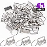 Swpeet 45Pcs Sliver 1 Inch Key Fob Hardware with Key Rings Sets, Perfect for Bag Wristlets with Fabric/Ribbon/Webbing/Embosse