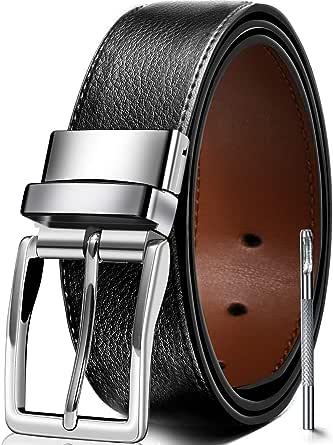 JBHOO ベルト メンズ ビジネス カジュアル 革 サイズ調整可能 紳士ベルト ブラック 115 125cm 穴あけポンチ付き