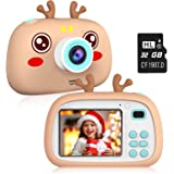 """2NLF Kids Digital Camera,Electronic Toys,2.4"""" 8MP 1080P for taking picture and vedio,protective silicone case (32G TF card),c"""