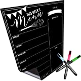 Magnetic Dry Erase Menu Board for Fridge: with Bright Neon Chalk Markers - 16x12 - Weekly Meal Planner Blackboard and Grocery