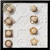 COCORO Mini Sand Stamps for Mini Zen Garden Patterns Includes Swirl, Ocean Waves, Parallel Crosses, Rings, Chrysanthemum, Plu