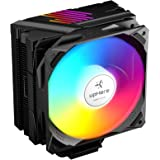 upHere N1055CF 5 Copper Heat Pipes Dynamic Rainbow LED CPU Cooler,120mm PWM Fan, Aluminum Fins for AMD Ryzen/Intel