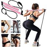 YICYC Portable Pilates Bar Kit with Resistance Band, Home Yoga Exercise Pilates Bar with Foot Loop Yoga Pilates Stick Total B