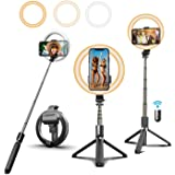 """6.6"""" Selfie Ring Light with Tripod Stand and Phone Holder, Selfie Stick Tripod with Light, Portable 3 in 1 Wireless Bluetooth"""
