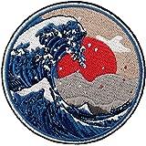 神奈川沖グレートウェーブ刺繍のバッジのアイロン付けまたは縫い付けるワッペン