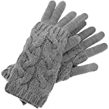 Inca Fashions - 100% Alpaca Wool Convertible Cable Knit Duo, Glove & Wrist Warmer Set