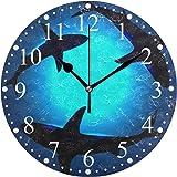 サメ柄 掛け時計 置き時計 おしゃれ 北欧 油絵の効果 壁掛け 連続秒針 リビング 部屋装飾 贈り物