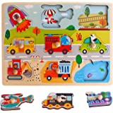 Wooden Transportation pegged-Puzzles Preschool Education Toy Nail Puzzle Kindergarten Montessori Toddler Educational Toys for