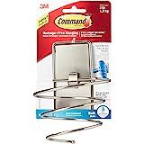Command Hair Dryer Holder, Satin Nickel, 1-Hair Dryer Holder, 2-Large Water-Resistant Strips (BATH39-SN-ES)