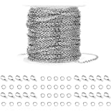 WXJ13 36 Feet Silver Stainless Steel Link Cable Chain with 20 Lobster Clasps and 30 Jump Rings for Men Women Jewelry Chain DI