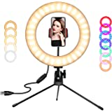 SICCOO Ring Light, 10 inch LED Dimmable RGB Selfie Ring Light on Desktop Colorful Makeup Light with USB for Makeup, Live Stre
