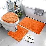 Smart Linen 3 Piece Bathroom Rug Set Includes Bath Rug, Contour Mat and Toilet Lid Cover, Machine Washable, Super Soft Microf