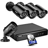ANNKE 8CH H.264+Security Camera System with 4pcs 1080P 1920TVL Wired CCTV Cameras, IP66 Weatherproof for Indoor Outdoor use,
